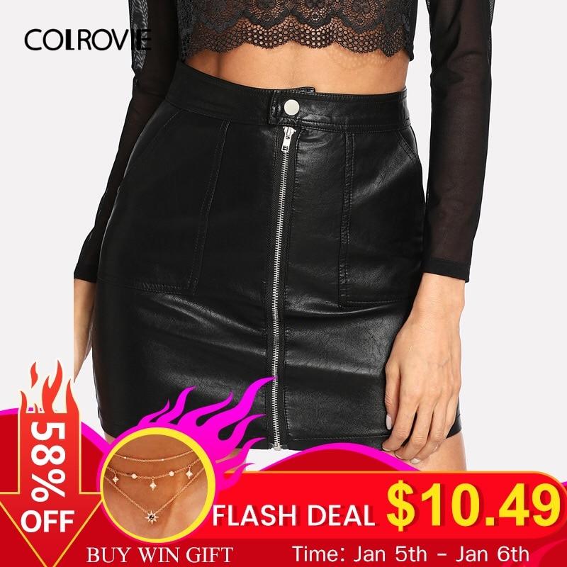 [해외]/COLROVIE Spring Plain Faux Leather Skirt Black Mid Waist Zip Front Sexy PU Skirt Women Elegant Sheath Above Knee Mini Skirt