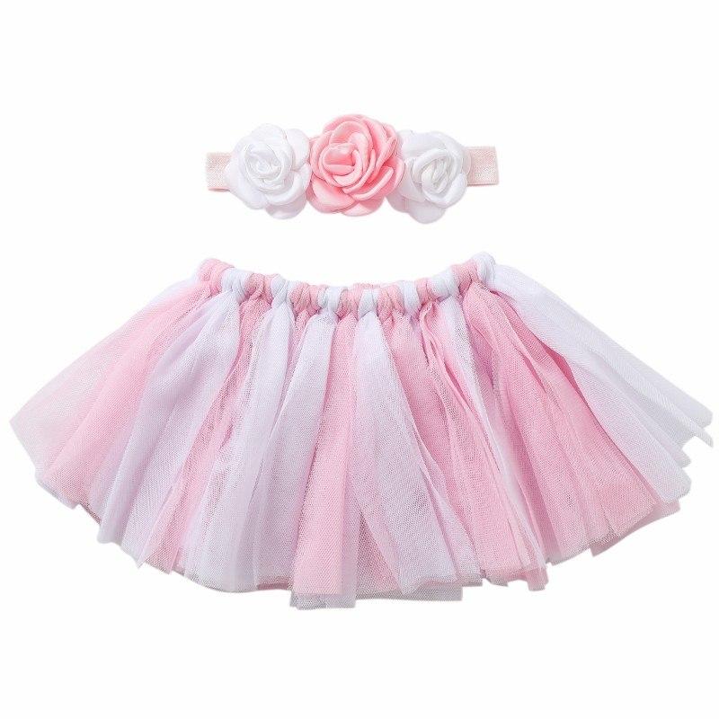 [해외]La Princesa recien nacido fotografia apoyos de fotografia de bebe rosa Ballet Tutu faldas Set 2 piezas falda Tutu + diadema conjunto/La Princesa r