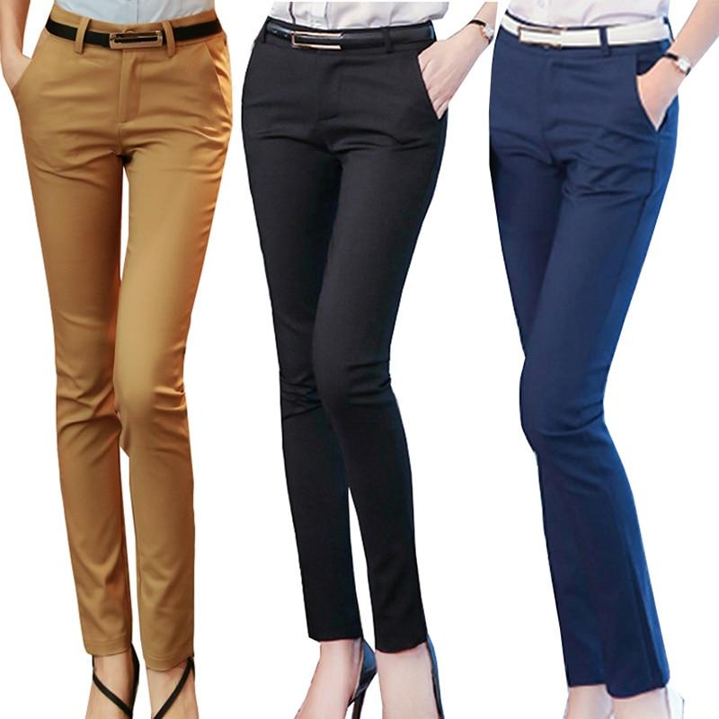 [해외]여성 연필 바지 2019 가을 높은 허리 숙녀 사무실 바지 캐주얼 여성 슬림 bodycon 바지 탄성 pantalones mujer