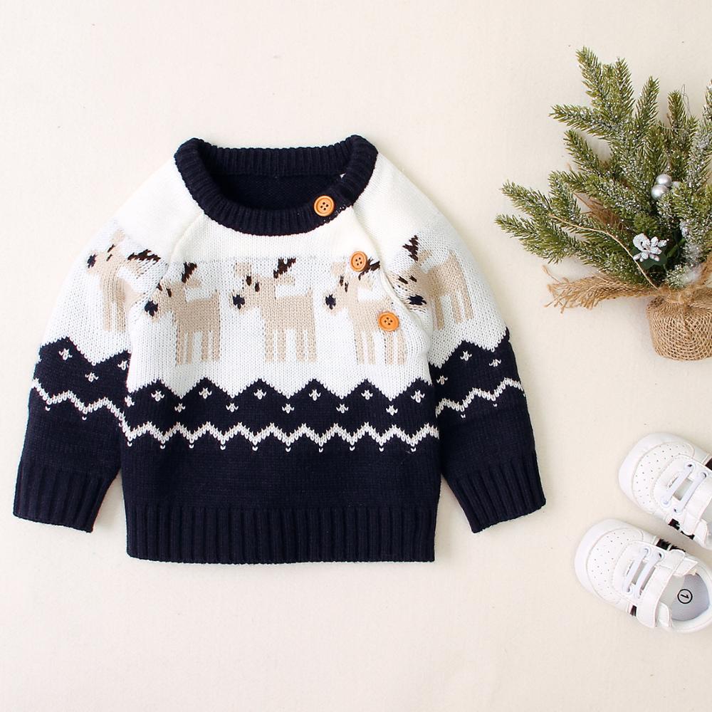 [해외]Los bebes sueteres de invierno para bebe chica Casual cuello redondo de manga larga de nino de punto superior Reno de la Navidad de punto de ninos