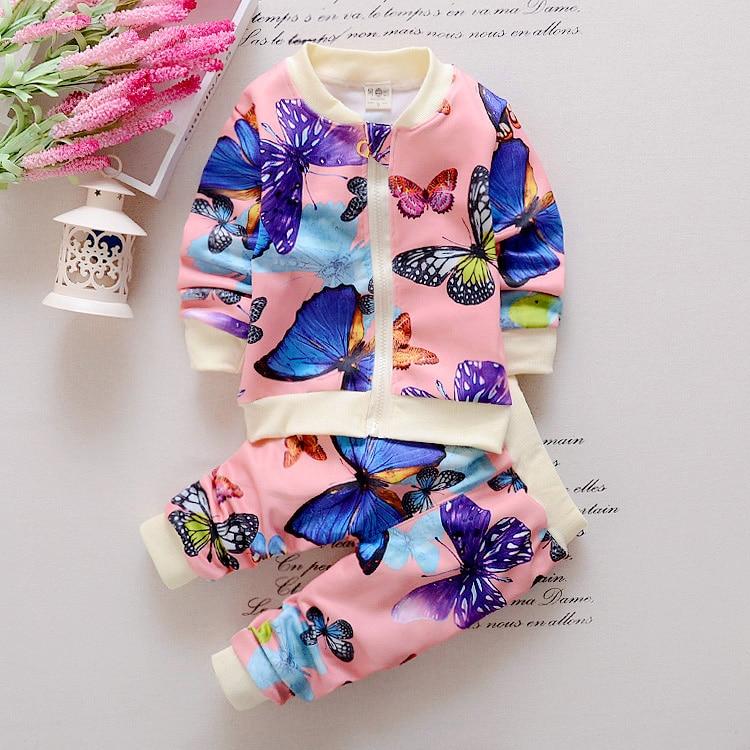 [해외]2pcs Long Sleeve Floral Jacket Coat and Pant Set For Toddler Girl Winter Clothes Butterfly Print/2pcs Long Sleeve Floral Jacket Coat and Pant Set