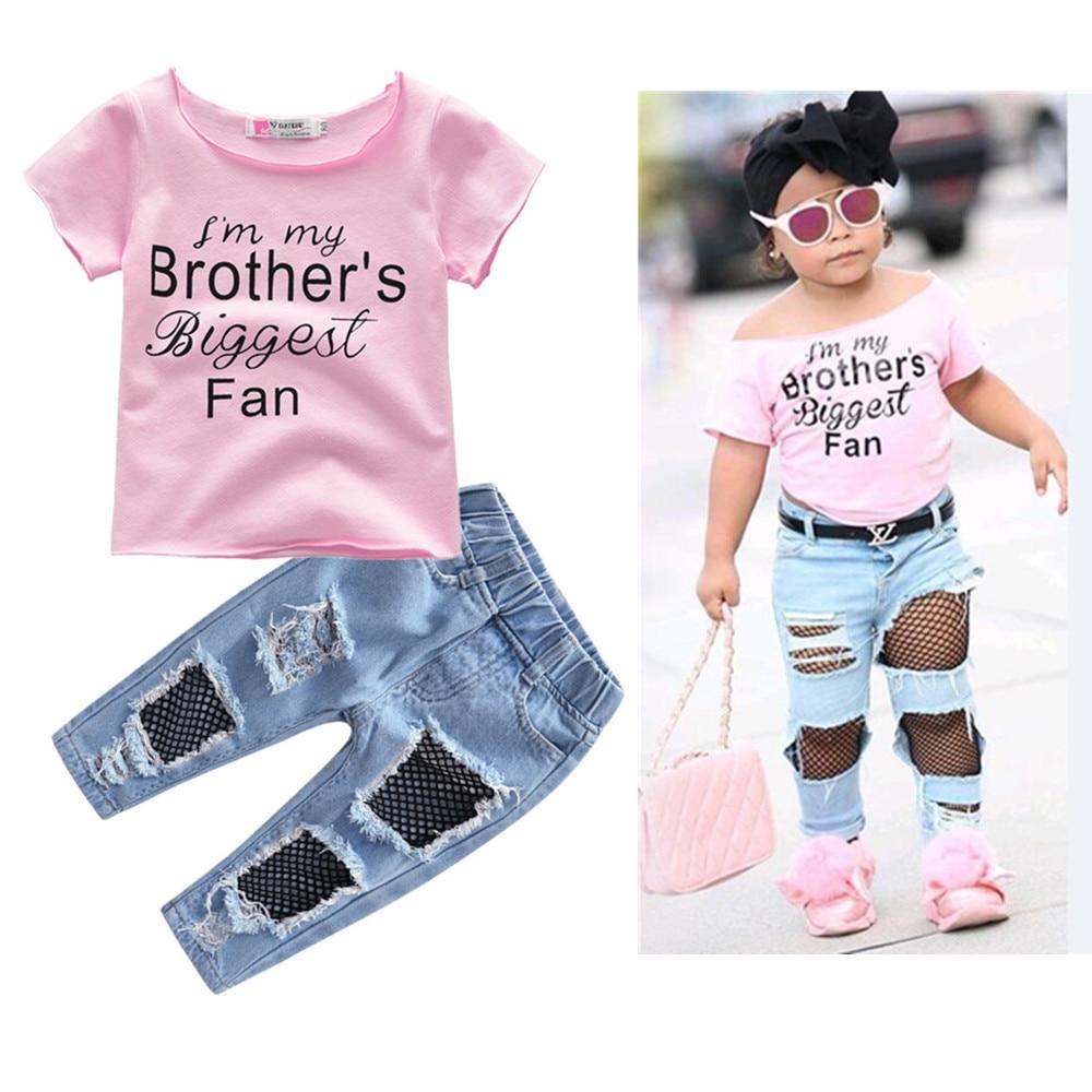 [해외]2019 Fashion New Koreanquality cotton Girl Short Sleeves +Ripped Denim Shorts Jeans 2PCS Outfits Summer Clothes Set1-5Y/2019 Fashion New Koreanqua