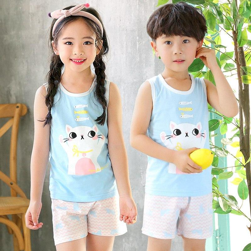 [해외]Children`s Vest Set Pure Cotton Summer Boys` Girls` Sleeveless Vest Shorts Two Pieces Sets/Children`s Vest Set Pure Cotton Summer Boys` Girls` Sle