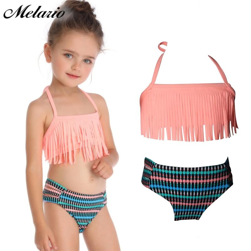 [해외]Melario children`s clothing summer girl tight-fitting swimwear girl split two-piece swimsuit children`s printed clothing/Melario children`s clothi