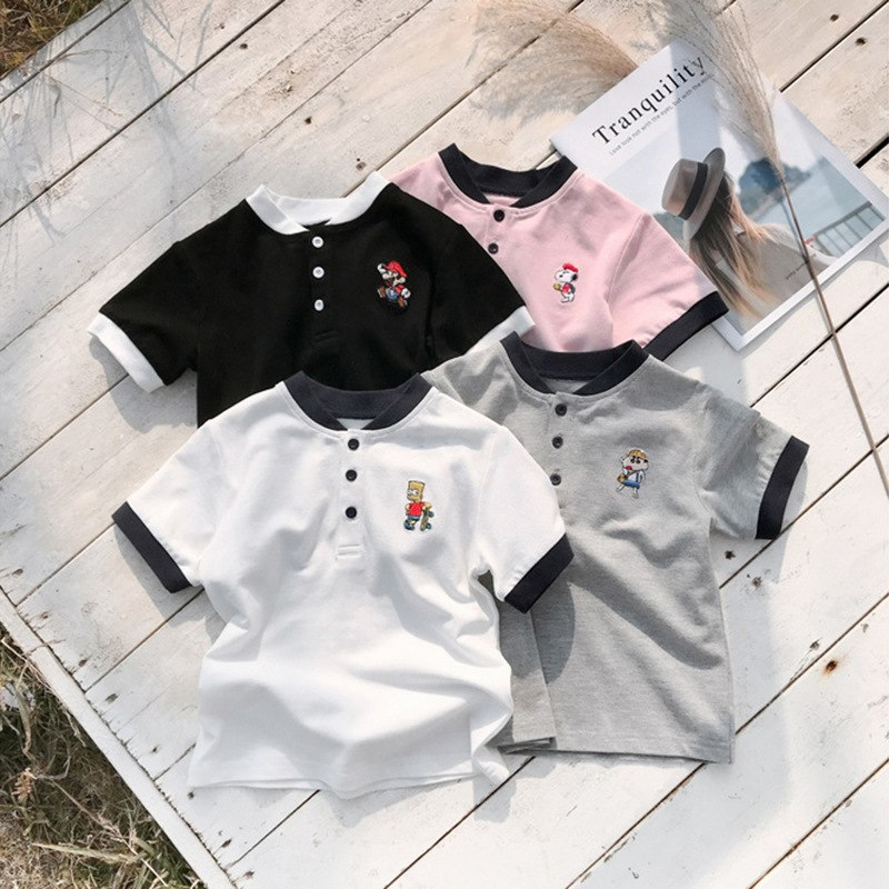 [해외]Summer T-shirt Short Sleeve T Shirts Lapel Puppy Print Embroidery Costume Roupas Infantis Menino Top Tee School Clothes 2019 NEW/Summer T-shirt Sh