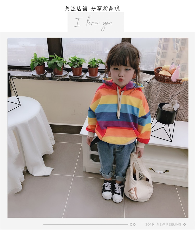 [해외]2019 New Spring Item Girl Print Rainbow Hooded Top/2019 New Spring Item Girl Print Rainbow Hooded Top