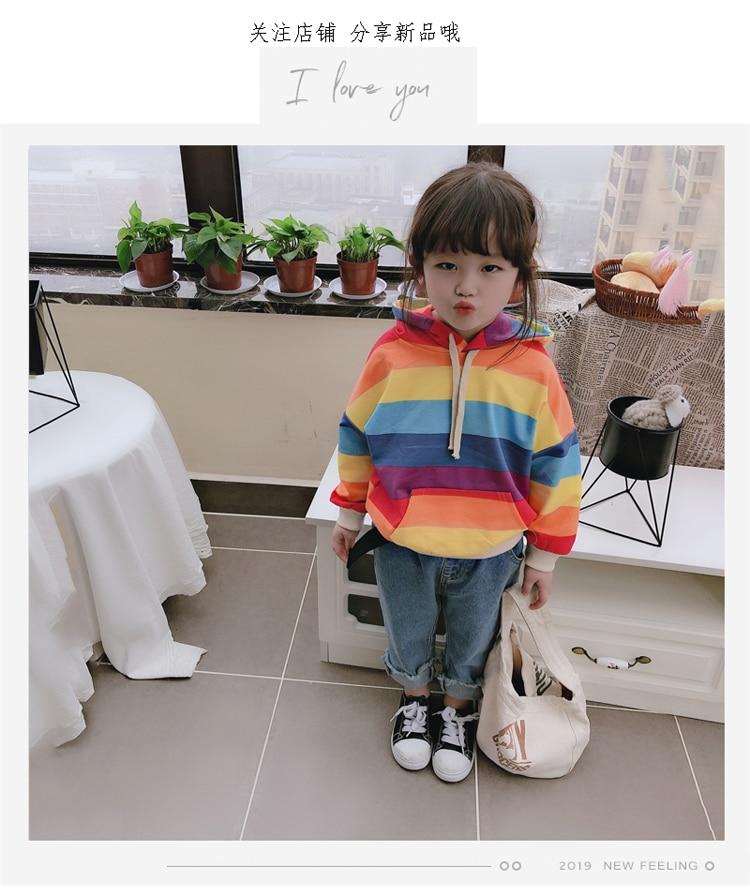 [해외]2019 New Spring Item Girl Print Rainbow Hooded Top/2019 New Spring Item Girl Print Rainbow Hooded Top