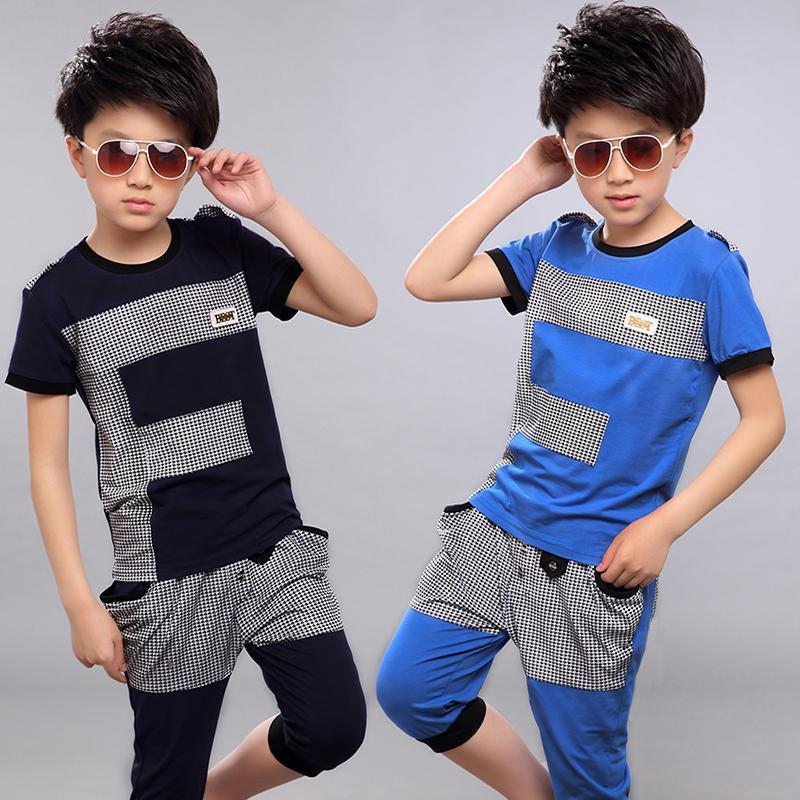[해외]2019 Summer Children`s Wear Boy`s Short-Sleeve Clothing Set Kid Fashion Splicing Sport Suit T-shirt + Pants 2 Pcs Tracksuit X305/2019 Summer Child