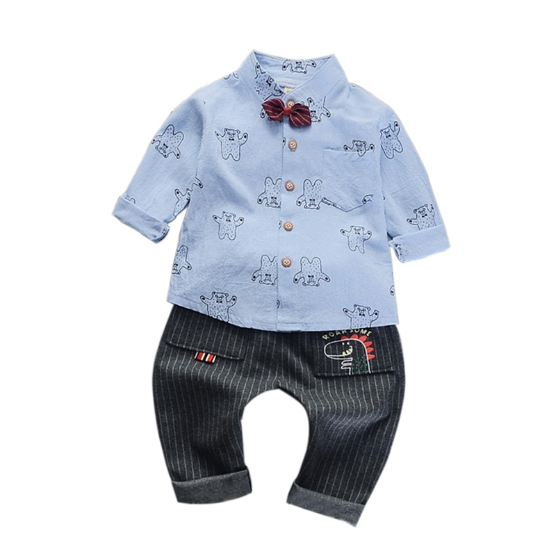 [해외]Toddler Boy Clothes kid 2019 Spring Little Bear Butterfly-knot Shirt Jeans Suit Roupas Handsome Blouse/Toddler Boy Clothes kid 2019 Spring Little