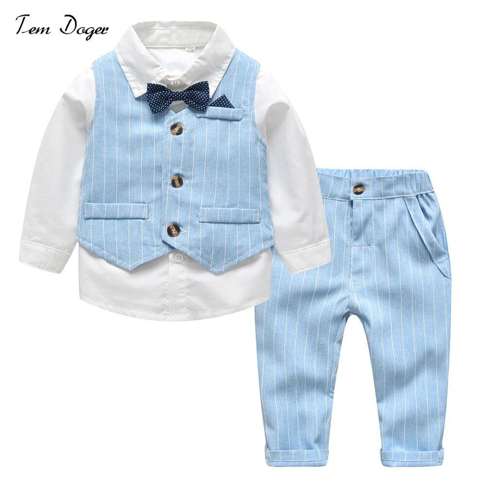 [해외]Tem Doger 2018 New style Clothes Set for Little boy Formal Boy Wedding Suit 3pcs Gentleman Clothes Outfit Birthday Party Costume/Tem Doger 2018 Ne