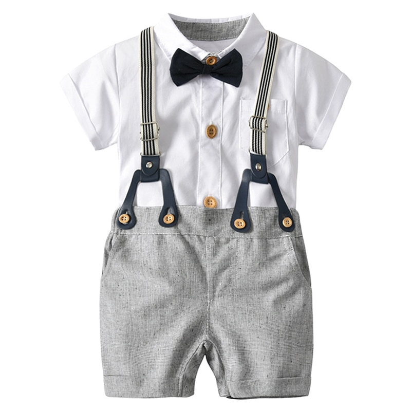 [해외]Boy Summer Clothes Newborn Clothes Kid Cotton White Bow Tie Jumpsuit T-shirt + Bib shorts Suit Casual Small Suit/Boy Summer Clothes Newborn Clothe