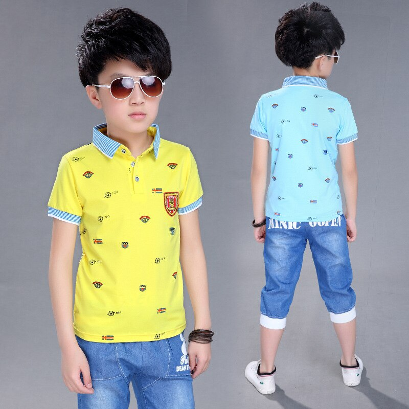 [해외]3 to 14 Years Boy Sports Set 2018 Boy Summer Set Children`s T-Shirt Shorts Set Child Cotton Short Sleeve Shirt Boy Clothing Set /3 to 14 Years Boy