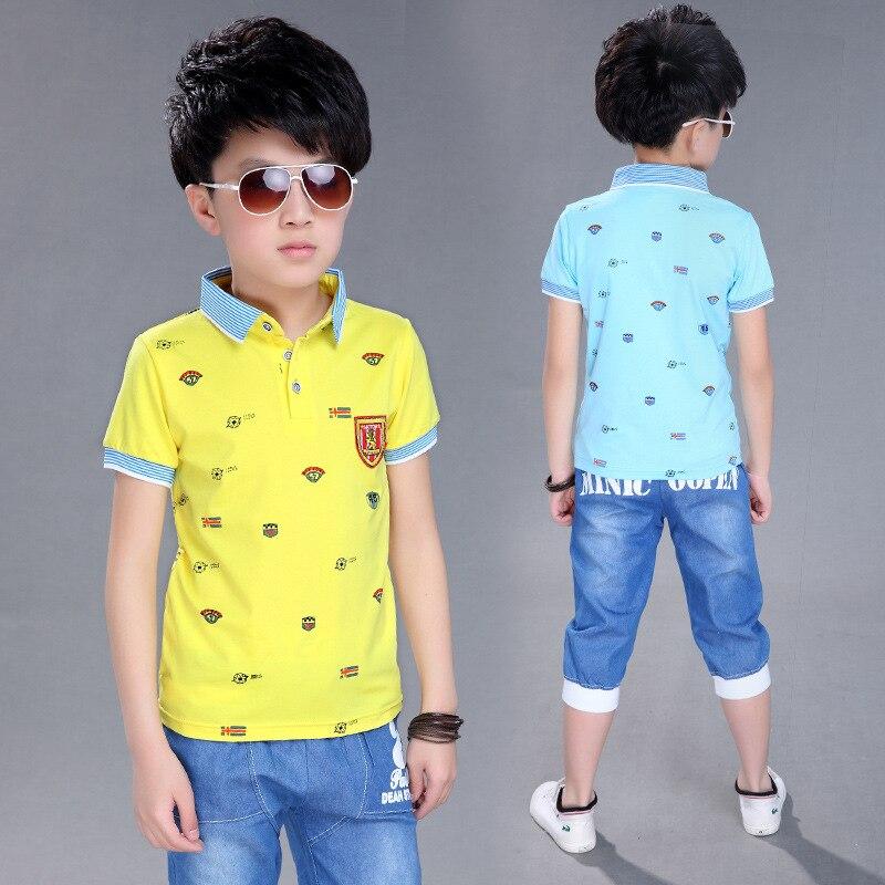 [해외]3 to 14 Years Boy Sports Set 2018 Boy Summer Set Children`s T-Shirt Shorts Set Child Cotton Short Sleeve Shirt Boy Clothing Set /3 to 14 Years Boy