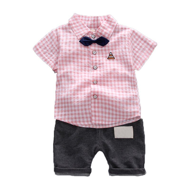 [해외]Children\\`s Clothing Summer Clothing Set Fashion Boy Short-Sleeved Striped Shirt + Pants Two Sets New Newborn Clothes/Children\\`s Clothing Summer