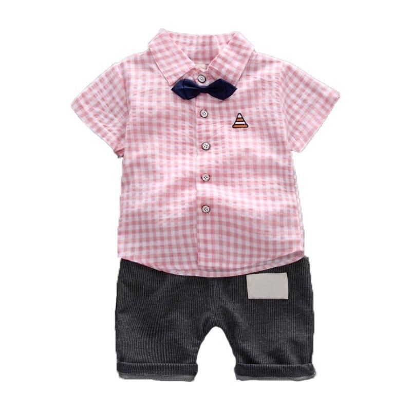 [해외]Children\\`s Clothing Summer Clothing Set Fashion Boy Short-Sleeved Striped Shirt + Pants Two Sets New Newborn Clothes/Children\\`s Clothing Summer