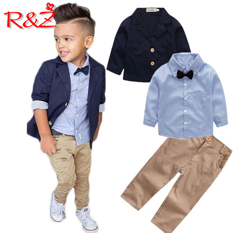 [해외]R&Z childrens suit 2019 spring and autumn new boy gentleman suit suit jacket shirt pants 3 piece set to send bow tie/R&Z childrens suit