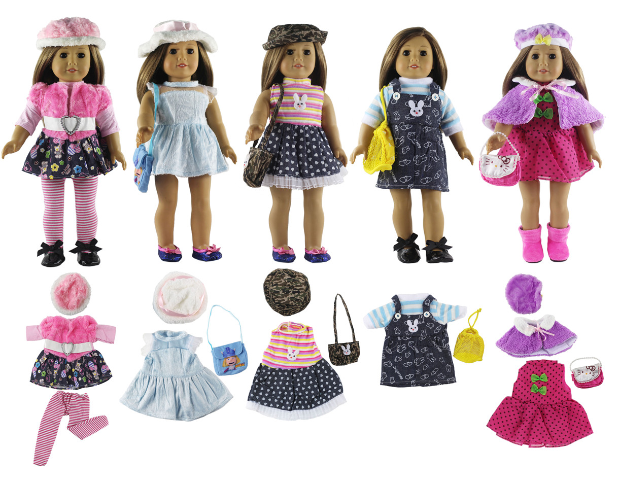 [해외]Lot 5 Set Fashion Style Clothing Doll Clothes+4 hats+4 bags+one pairs tights for 18 inch doll clothes american doll accessories/Lot 5 Set Fashion