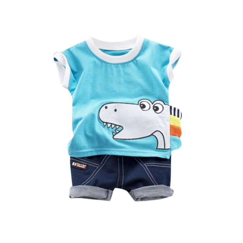 [해외]Children`s Boy Clothes Set Summer Short Sleeve Set Boy Cotton Cartoon Dinosaur Half Sleeve Set/Children`s Boy Clothes Set Summer Short Sleeve Set