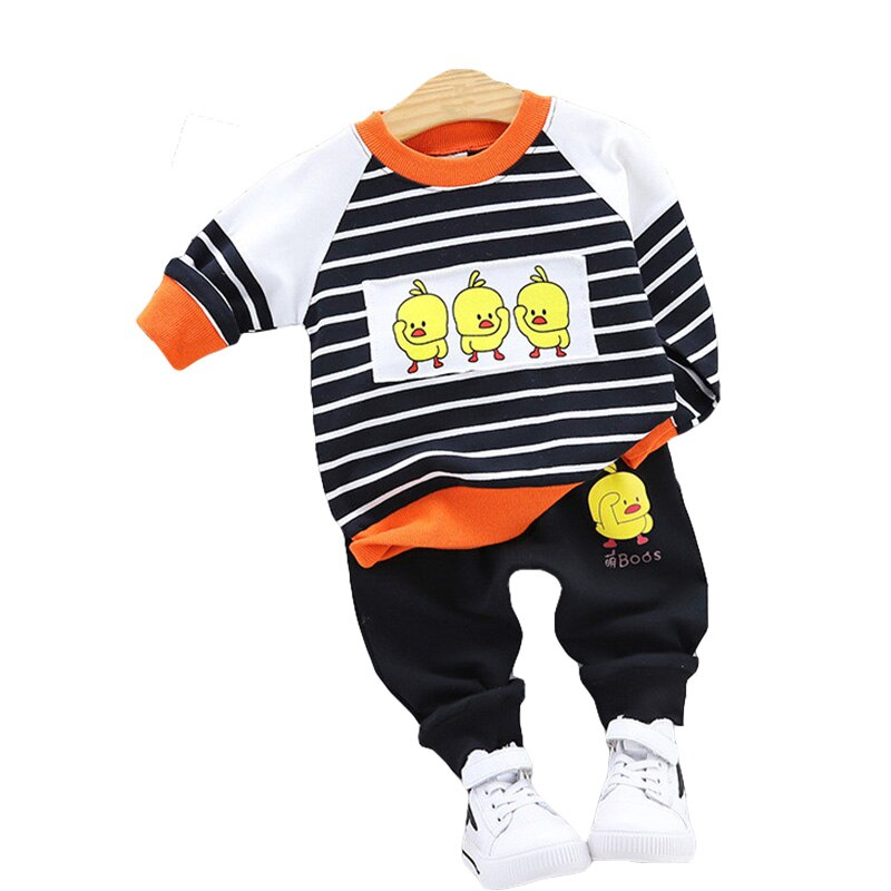 [해외]Spring and Autumn New Children`s Wear Boy Korean Long Sleeve Set Child Cartoon Stripe Casual Set/Spring and Autumn New Children`s Wear Boy Korean