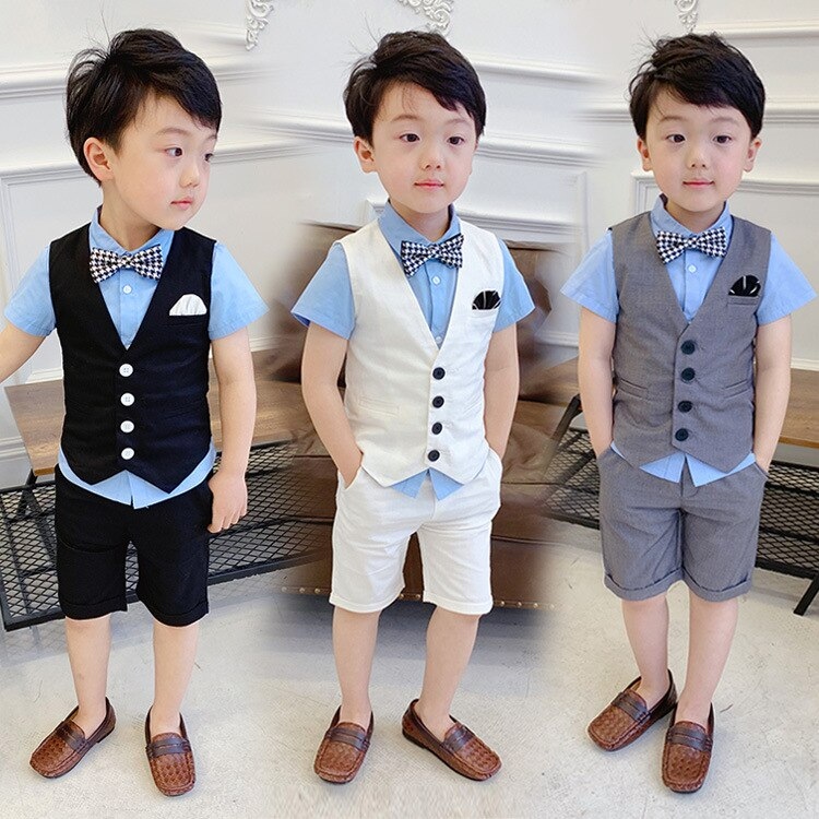 [해외]4 PCS Summer Vset Shorts Shirt Tie New Fashion Boy Formal Vest Wedding Outfit Vestidos Child Suits For Prom Party Cool White/4 PCS Summer Vset Sho