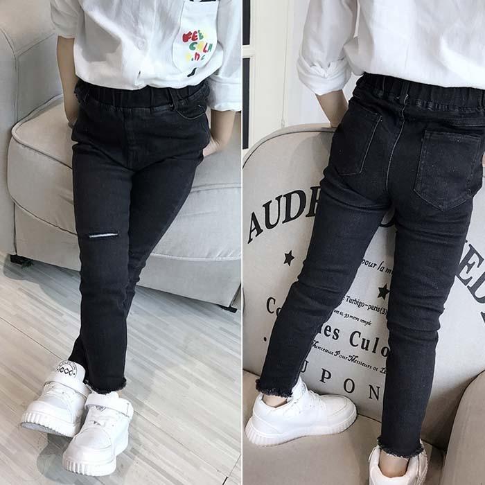 [해외]Girls personality hole jeans 2019 spring and autumn childrens clothing wild feet pencil pants childrens jeans/Girls personality hole jea