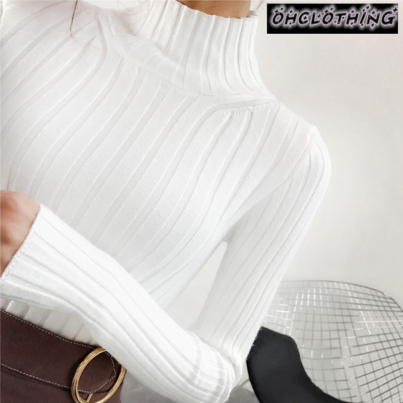 [해외]2019 White turtleneck sweater and semi small fresh female short thick slim tight long sleeved all-match knitted shirt/2019 White turtleneck sweate