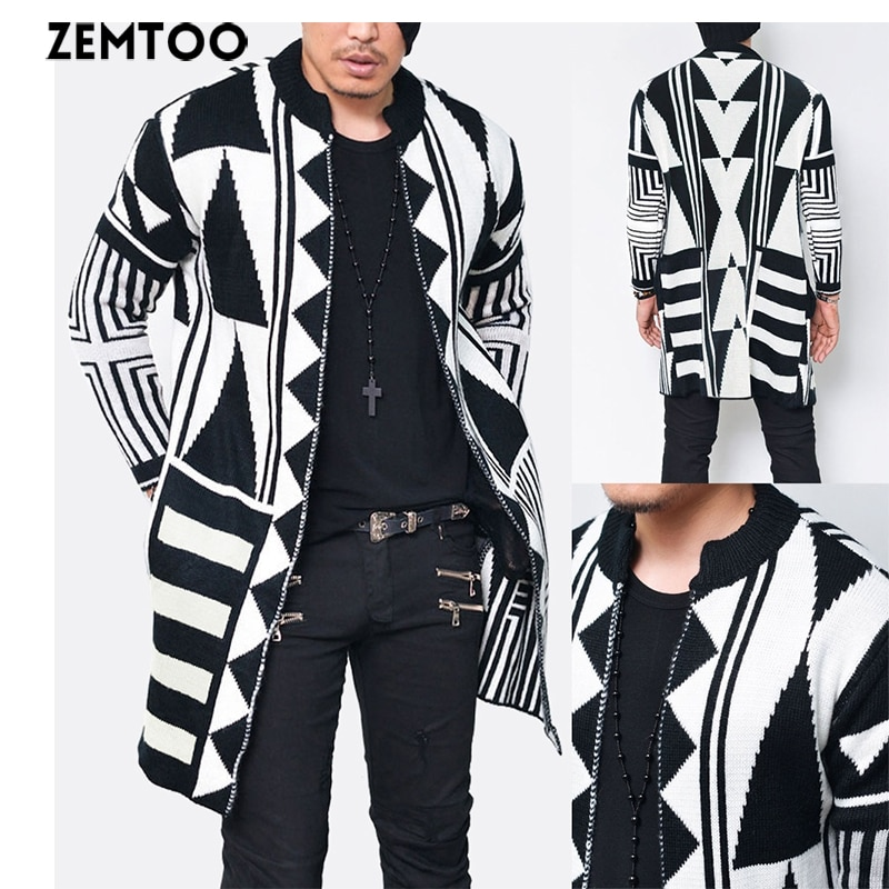 [해외]Fashion Men Slim Fit Knitted Geometric Cardigan Sweater/Fashion Men Slim Fit Knitted Geometric Cardigan Sweater