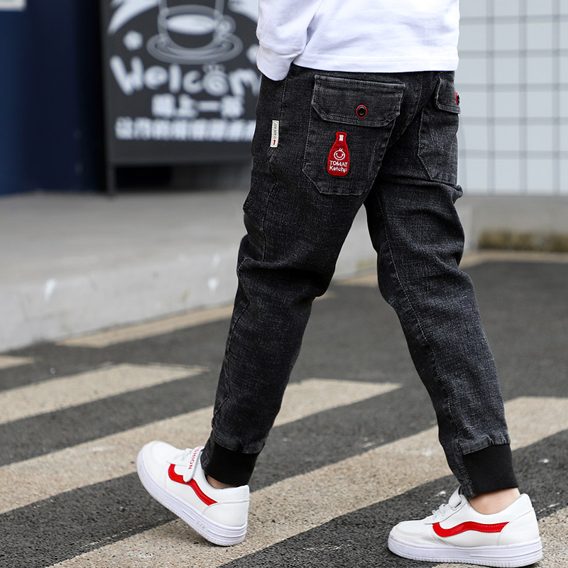 [해외]2019 큰 소년의 청바지 코 튼 패션 틴 에이지 고품질 소년 바지 탄성 바지 전체 길이 appliques 크기 100-160