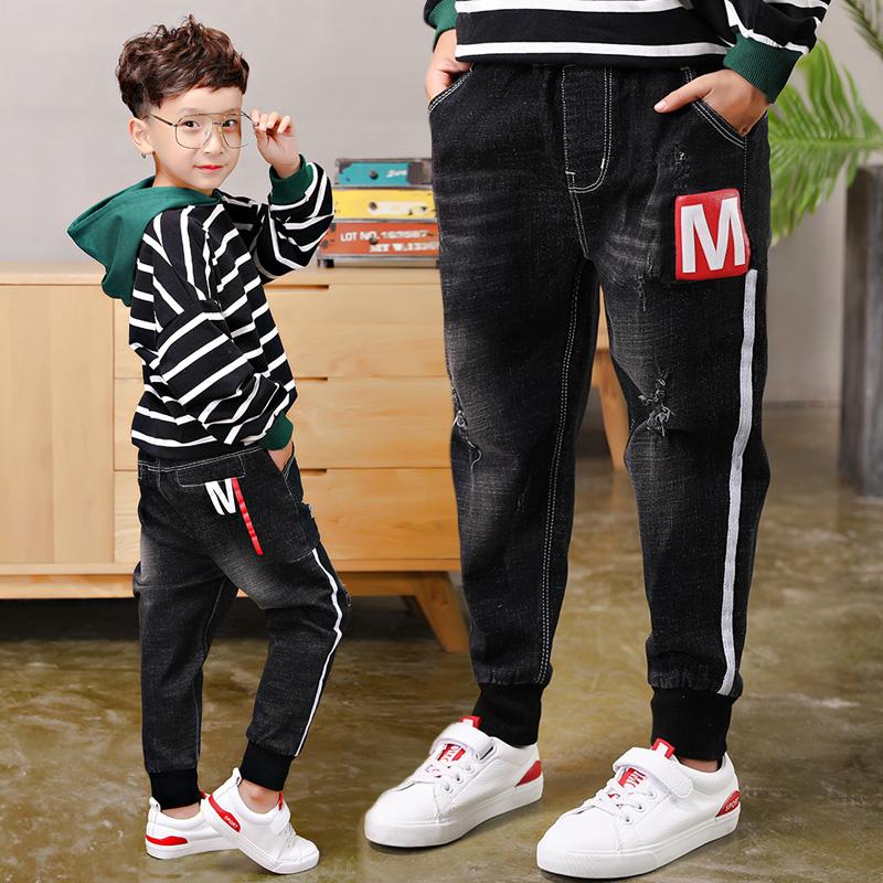 [해외]탄성 바지 전체 길이 appliques 2019 큰 소년의 청바지 코 튼 패션 십 대 나이 고품질 소년 바지 크기 100-160