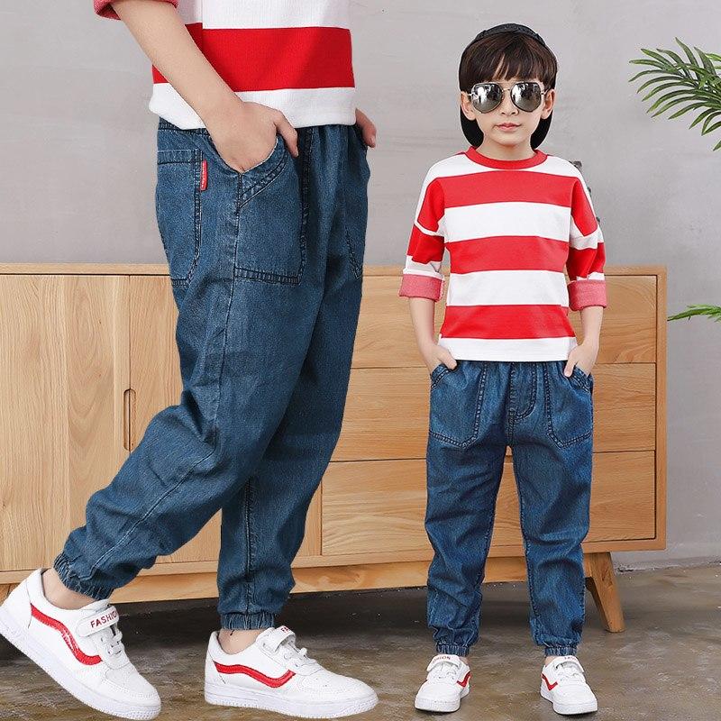 [해외]2019 Big Boy`s Jeans Cotton Fashion Teen-age  pencil pants Elastic Trousers Full Length Appliques Size 100-160/2019 Big Boy`s Jeans Cotton Fashion