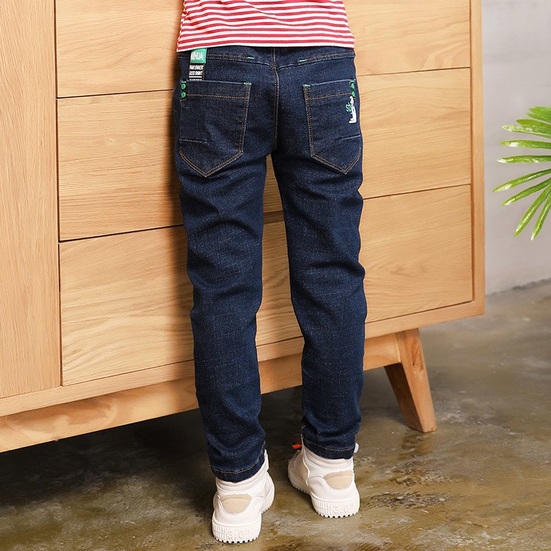 [해외]2019 Big Boy`s Jeans Cotton Fashion Quality boy pants Elastic Trousers Teen-age High Full Length Appliques Size 100-160/2019 Big Boy`s Jeans Cotto