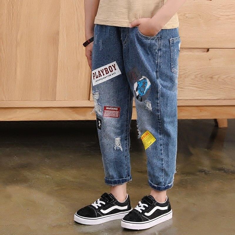 [해외]2019 큰 소년의 청바지 면화 패션 십대-나이 고품질의 새로운 도착 봄과 여름 크기 100-130-150-160