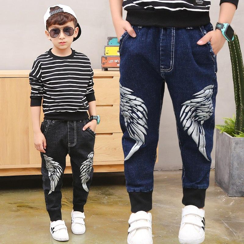 [해외]2019 Big Boy`s Jeans Cotton Fashion Teen-ages  Full Length  Pockets  Elastic Waist  Spring And Summer size 100-160/2019 Big Boy`s Jeans Cotton Fas