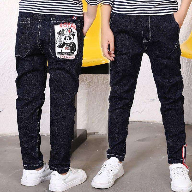 [해외]2019 Big Boy`s Jeans Fashion Teen-ages  Elastic Waist Cotton  Full Length Jeans Appliques Straight size 100-160/2019 Big Boy`s Jeans Fashion Teen-