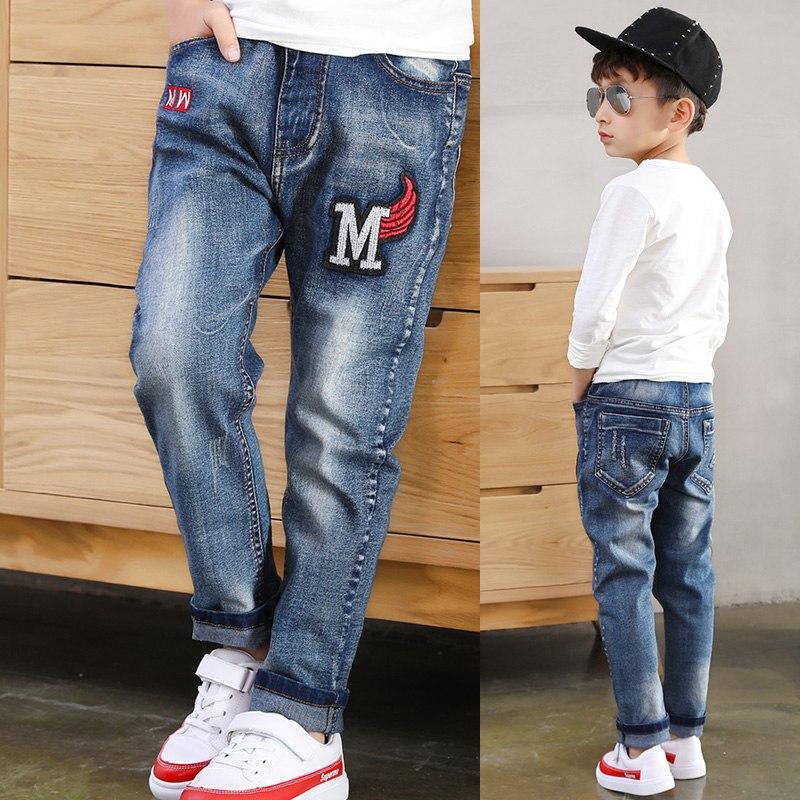 [해외]2019 Big Boy`s Jeans Fashion Teen-ages  Elastic Waist Cotton Full Length Jeans Appliques Straight size 100-160/2019 Big Boy`s Jeans Fashion Teen-a