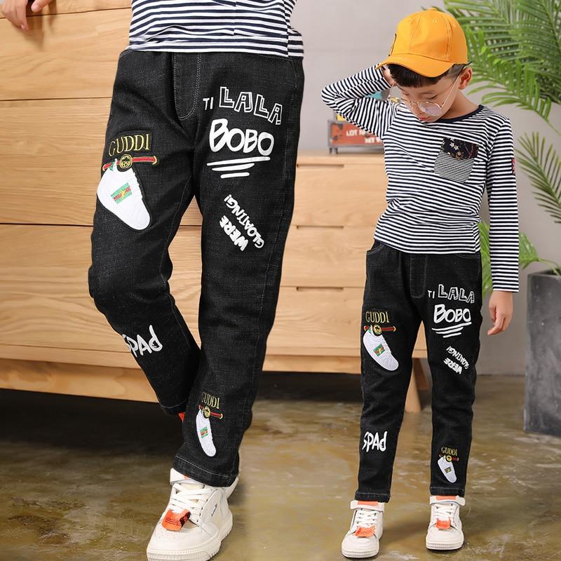 [해외]2019 큰 소년의 청바지 패션 십대 고품질 탄성 허리 면화 전체 길이 청바지 appliques 스트레이트 사이즈 100-160