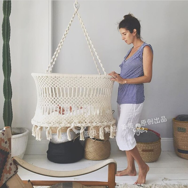 [해외]아기 어린이 침대 요람, 아기 보육 밧줄 프린지 대책에 대 한 요람 및 휴대용 스윙 교수형 35 \\\