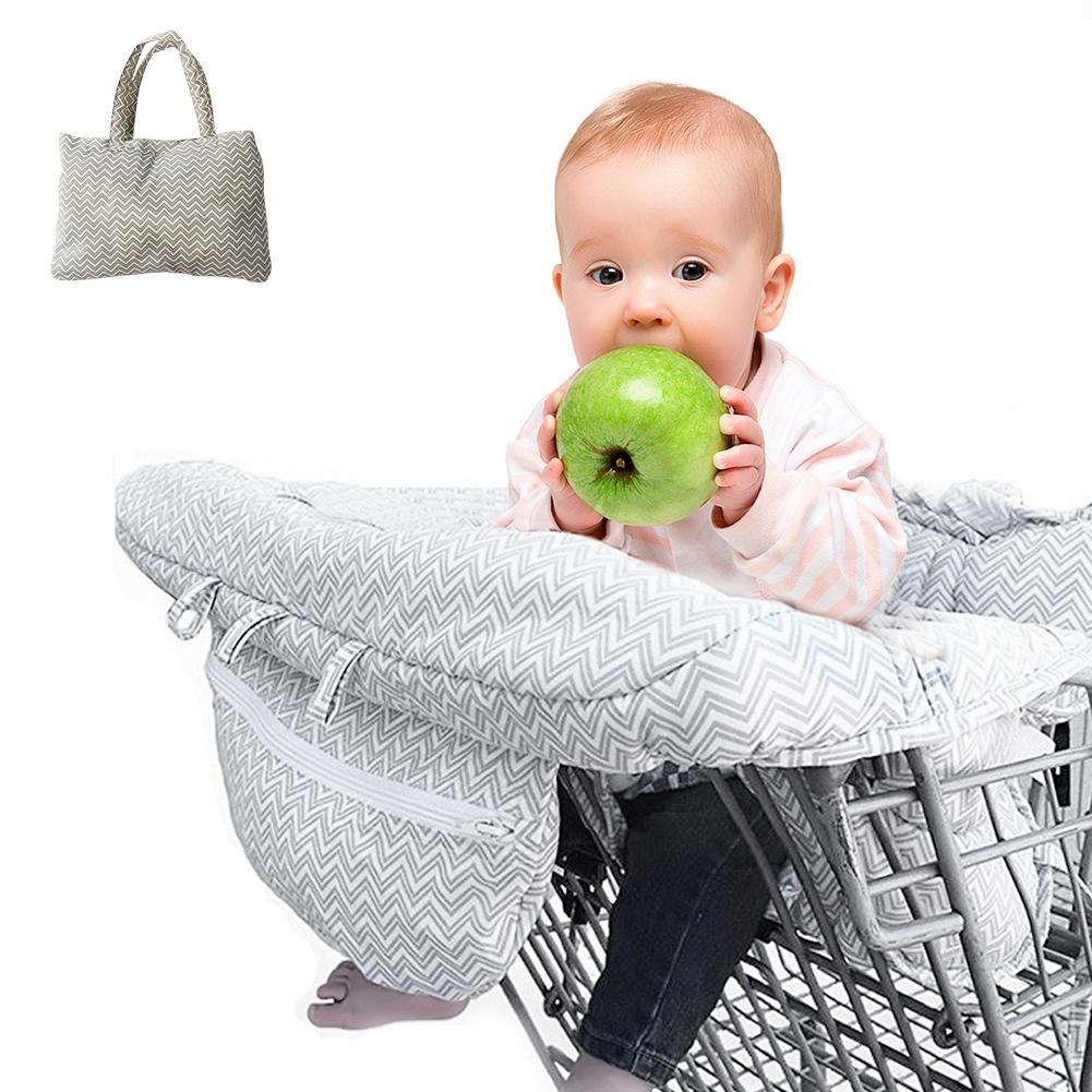 [해외] 2-in-1 Shopping Cart Cover And High Chair Cover Universal Fit Ultra Plush 100% Cotton Upper Full Safety Harness Washable/ 2-in-1 Shopping Cart Co