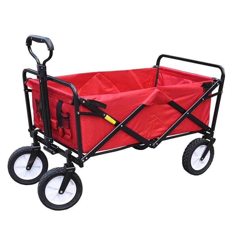 [해외]Multifunctional Red Shopping Cart, Portable Steel Frame Outdoor Camping Cart, Collapsible Folding Outdoor Utility Wagon/Multifunctional Red Shoppi