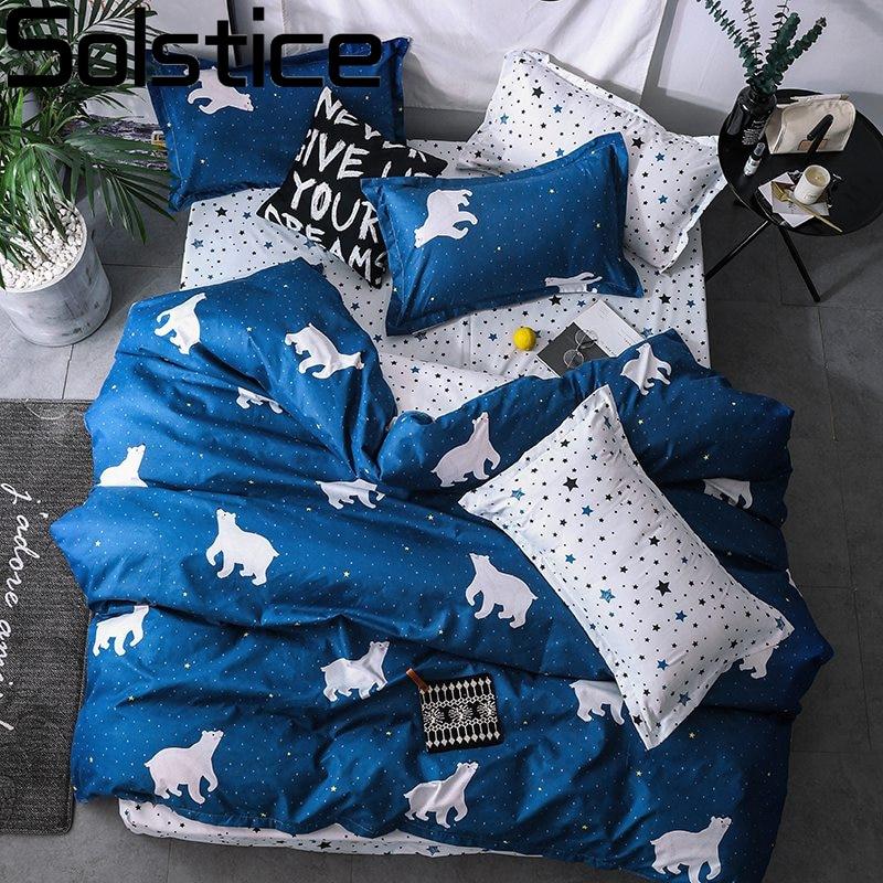 [해외]지점 홈 섬유 만화 북극곰 침구 세트 어린이 침구 세트 침대 시트 이불 커버 침대 시트 베개 커버/침대 세트