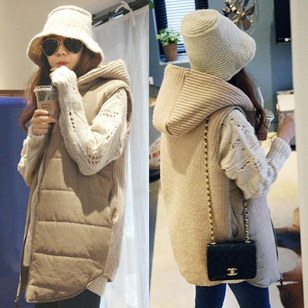 [해외]출산 의류 조끼 여성 가을과 겨울 민Retail 재킷 베스타 후드 면화 패딩 자켓 플러스 크기/Maternity clothing vest female autumn and winter sleeveless wadded jacket vesta hood cotton-p