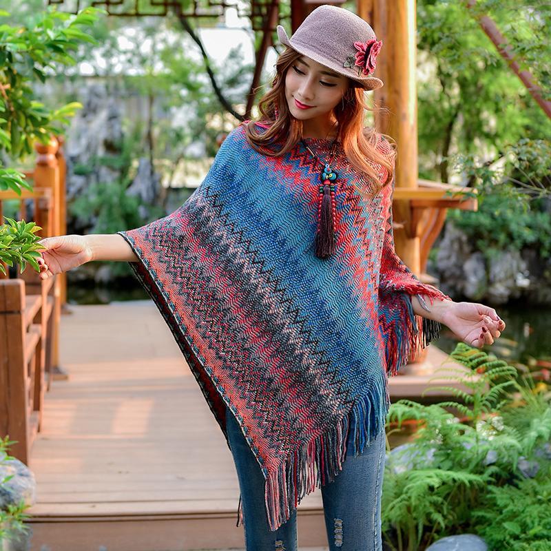 [해외]출산 드레스 스웨터 망토 목도리 가을 새로운 국가 바람 맞춤법 색상 복고 스웨터 술 망토 자켓/Maternity dress sweater cloak shawl autumn new national wind spell color retro sweater tassel
