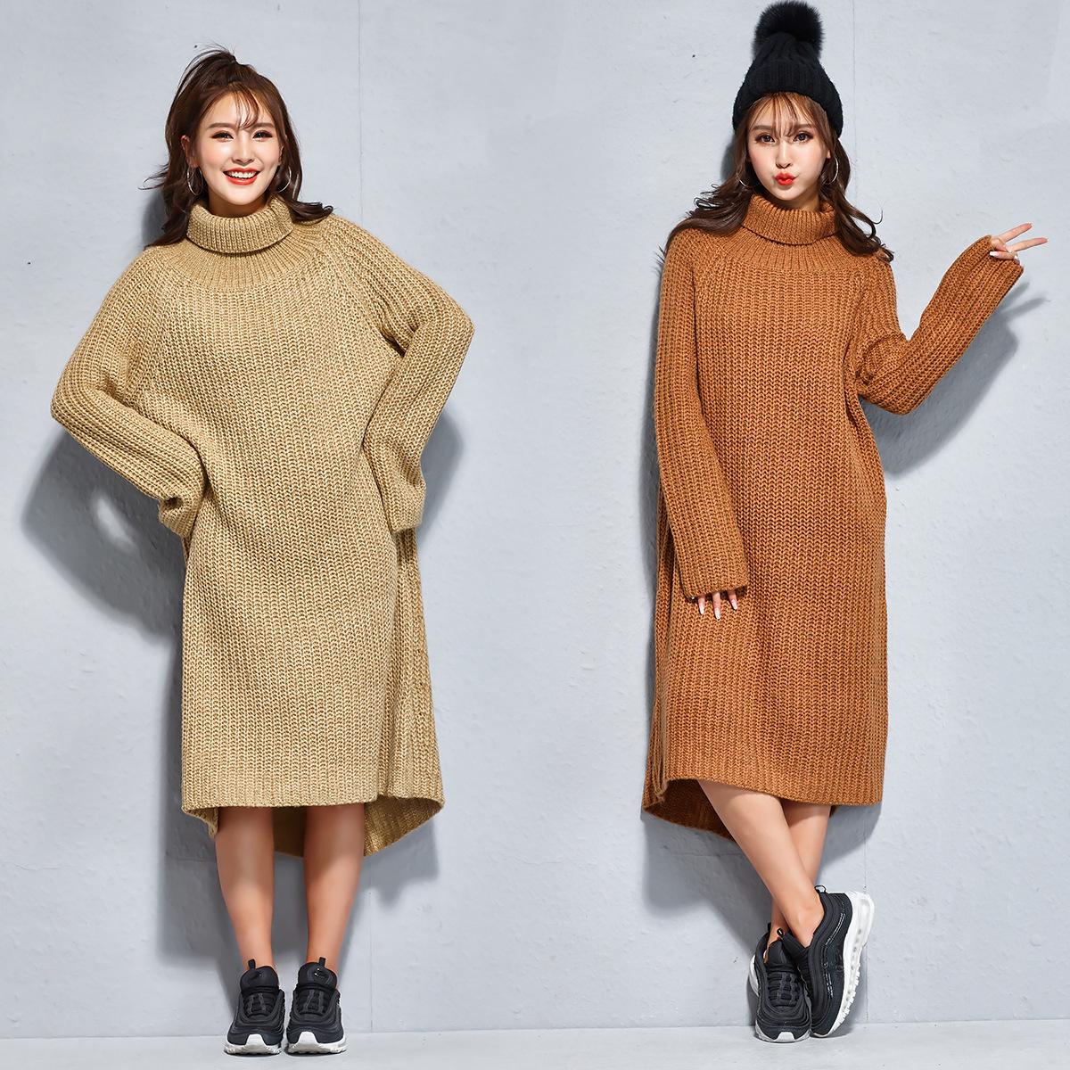 [해외]2017 겨울 여성 긴 스웨터 솔리드 터틀넥 플러스 사이즈 울 니트 스웨터 출산 드레스 불규칙한 풀오버 8003/2017 Winter Women Long Sweatershirts Solid Turtleneck PlusSize Wool Knitted Sweater