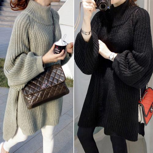 [해외]가을 겨울 새로운 한국 여성 & 느슨한 니트 스웨터 긴 스웨터 - 긴팔 드레스 출산 드레스/Autumn and winter new Korean women&s loose knit sweater long sweater long-sleeved dress mat