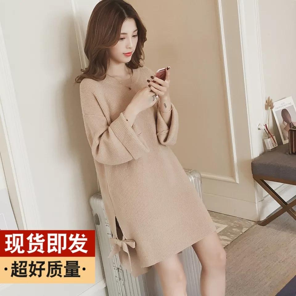 [해외]새로운 겨울 한 판 달콤한 bowknot - 긴 양모 드레스 드레스 조를 뜨개질에 긴팔 분할 여성/New winter han edition sweet bowknot long-sleeved split female in long wool knitting dress