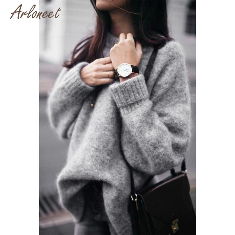 [해외]TELOTUNY 패션 그레이 컬러 여성 긴 Retail 탑 솔리드 스웨터 캐주얼 느슨한 니트 풀오버 2017 Hot 드롭 출하 OB19/TELOTUNY Fashion Gray Color Women Long Sleeve Tops Solid Sweater Casua