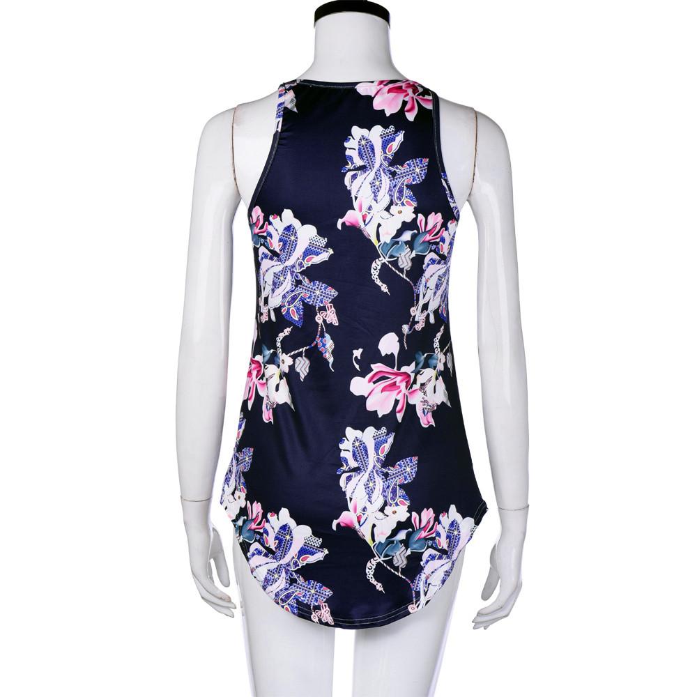 [해외]2017 여름 캐주얼 패션 여성 민Retail 꽃 무늬 탱크 탑 캐주얼 블라우스 조끼 T 셔츠 새로운 스타일/2017 Summer Casual Fashion Women Sleeveless Flower Printed Tank Top Casual Blouse Ves