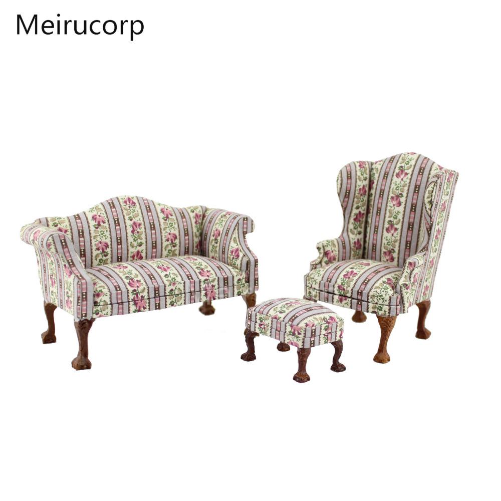 [해외]Dollhouse 1/12 Scale 소형 가구 거실 소파 의자 오스만 세트/Dollhouse 1/12 Scale Miniature furniture living room Sofa Chair Ottoman set