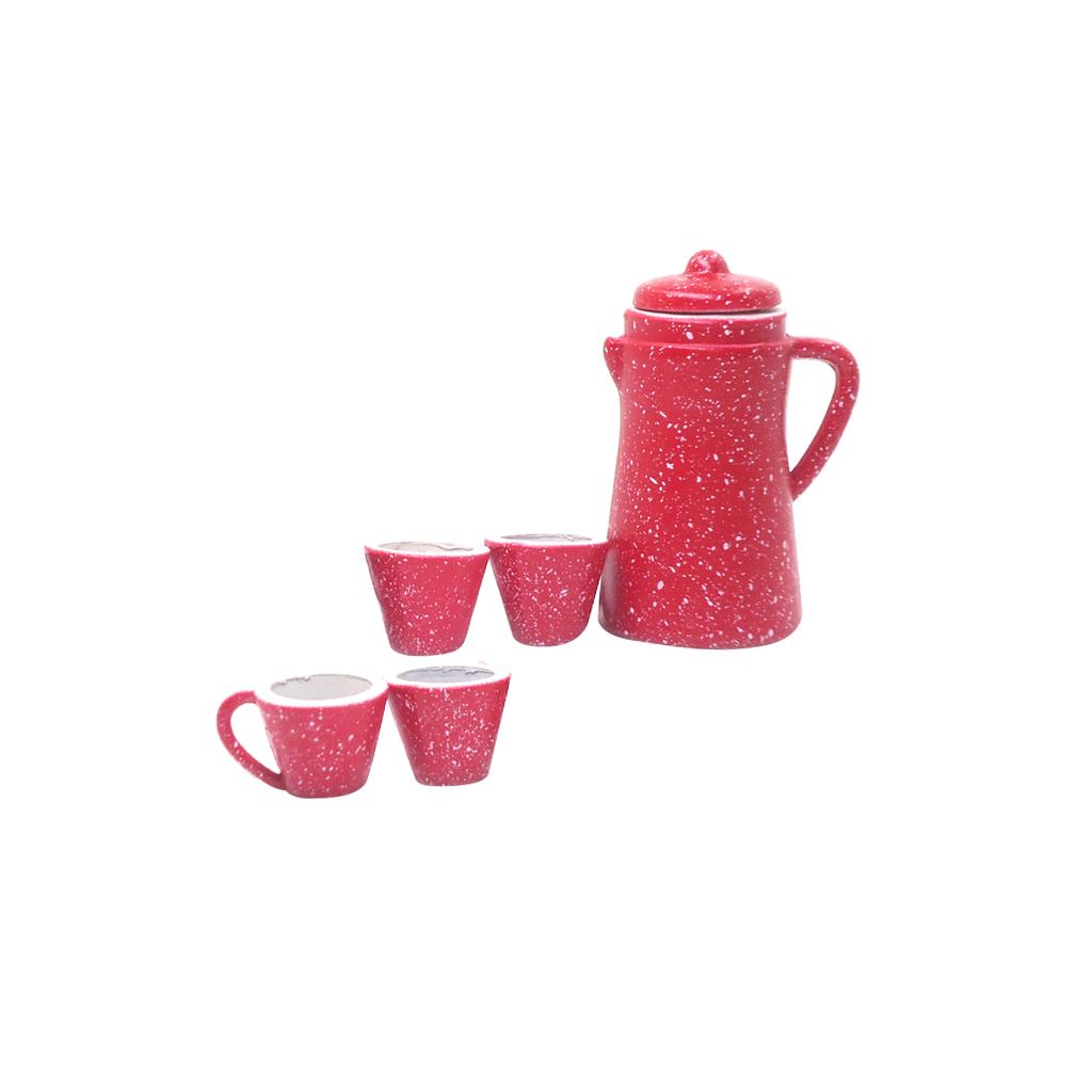 [해외]5 PC 1/12 인형 집 소형 도자기 커피 차 뚜껑 냄비 주전자 컵 세트 주방 클래식 장난감 척 최고의 선물 인형 인형 놀이/5 Pcs 1/12 Dollhouse Miniature Porcelain Coffee Tea Lid Pot kettle Cups Set