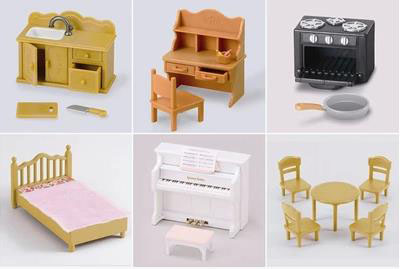 [해외]Elsadou 6 다른 놀이 집 장난감 Sylvanian Families 책상 침대 피아노 싱크대/Elsadou 6 Different Play House Toys Sylvanian Families Desk Bed Piano Sink